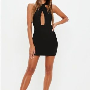 black crossbody halterneck bodycon mini dress